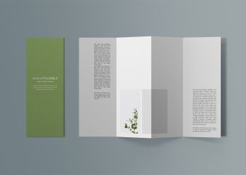 Free Vertical Foldable Brochure Mockup