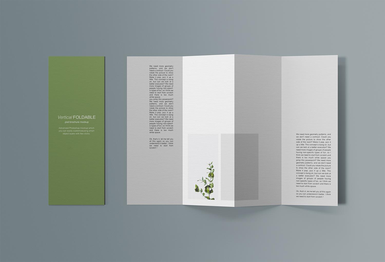 Free Vertical Foldable Brochure Mockup