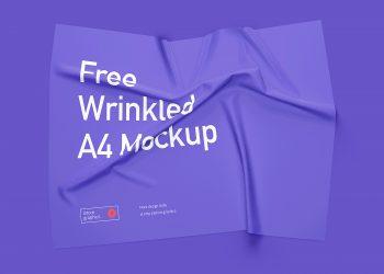 Free wrinkled A4 mockup