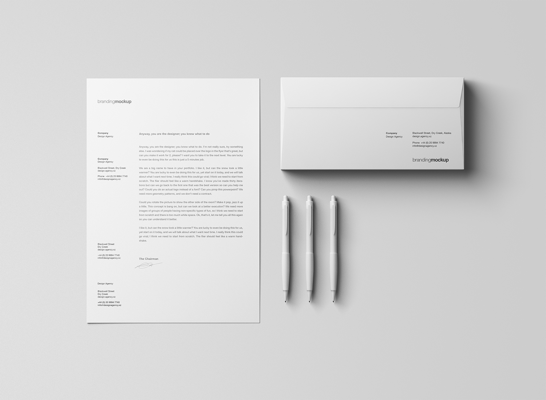 Letterhead and Envelope Stationery Mockup