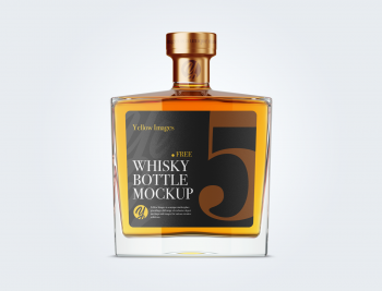 Square Glass Bottle Whisky Mockup