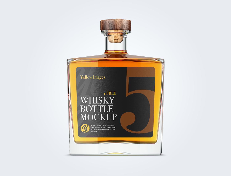 Square Glass Bottle Whisky Mockup