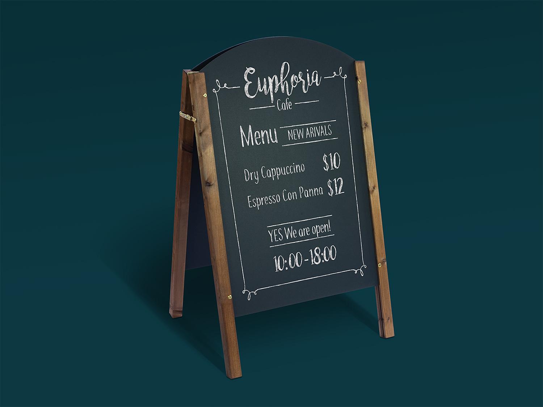 Free A-Frame Chalkboard Restaurant/Cafe Menu Mockup