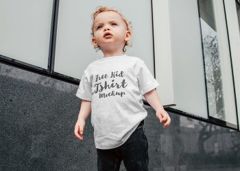 Free Young Kid T-Shirt Mockup