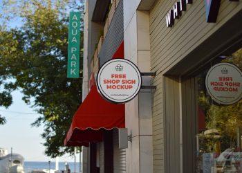 Free Wall Shop Sign Design Mockup