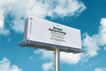 Street Advertising Billboard Mockup