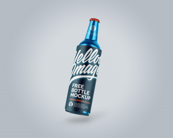 Metallic Drink Bottle with Holder Mockup