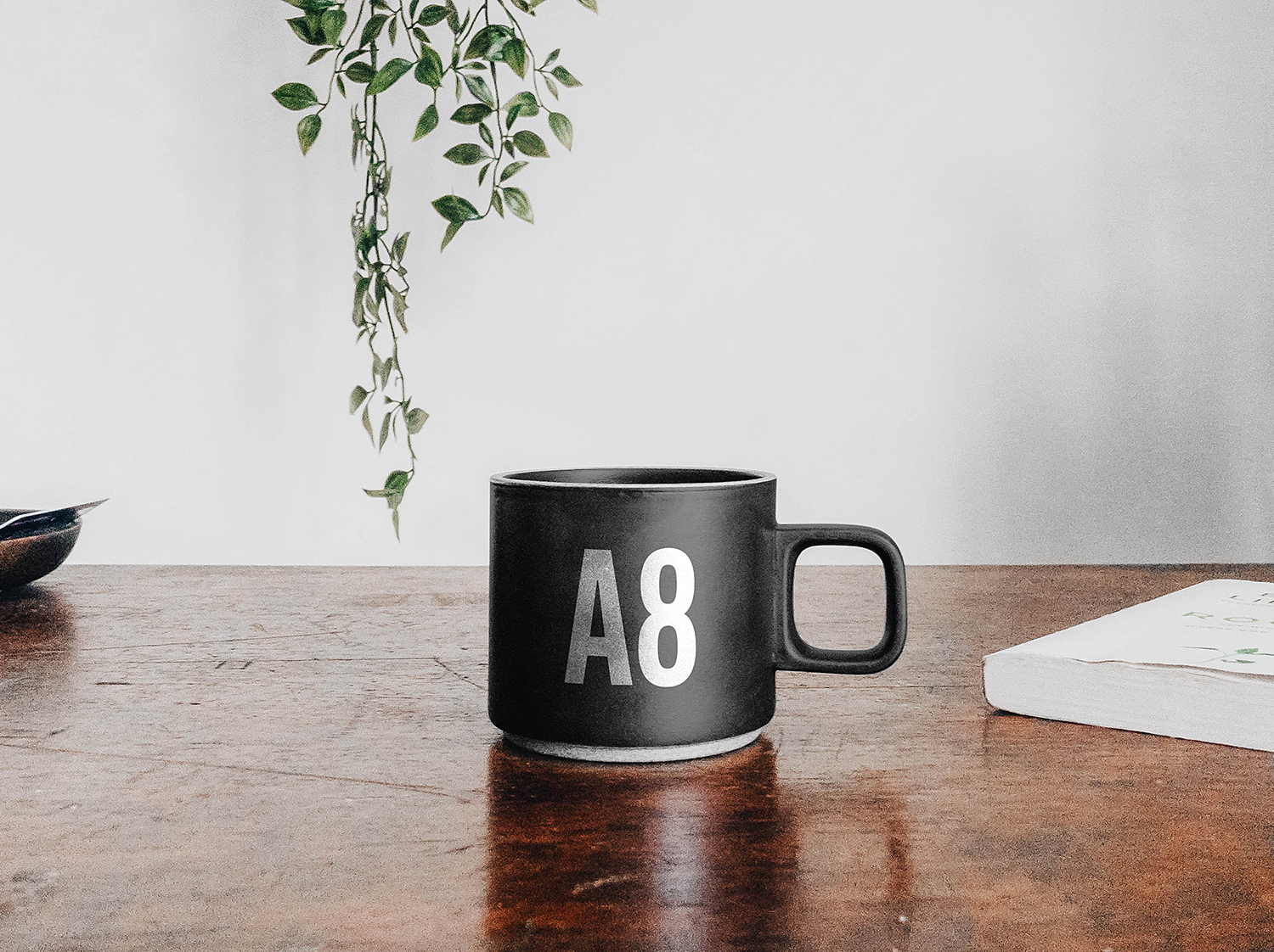 Free Mug on a Table Mockup