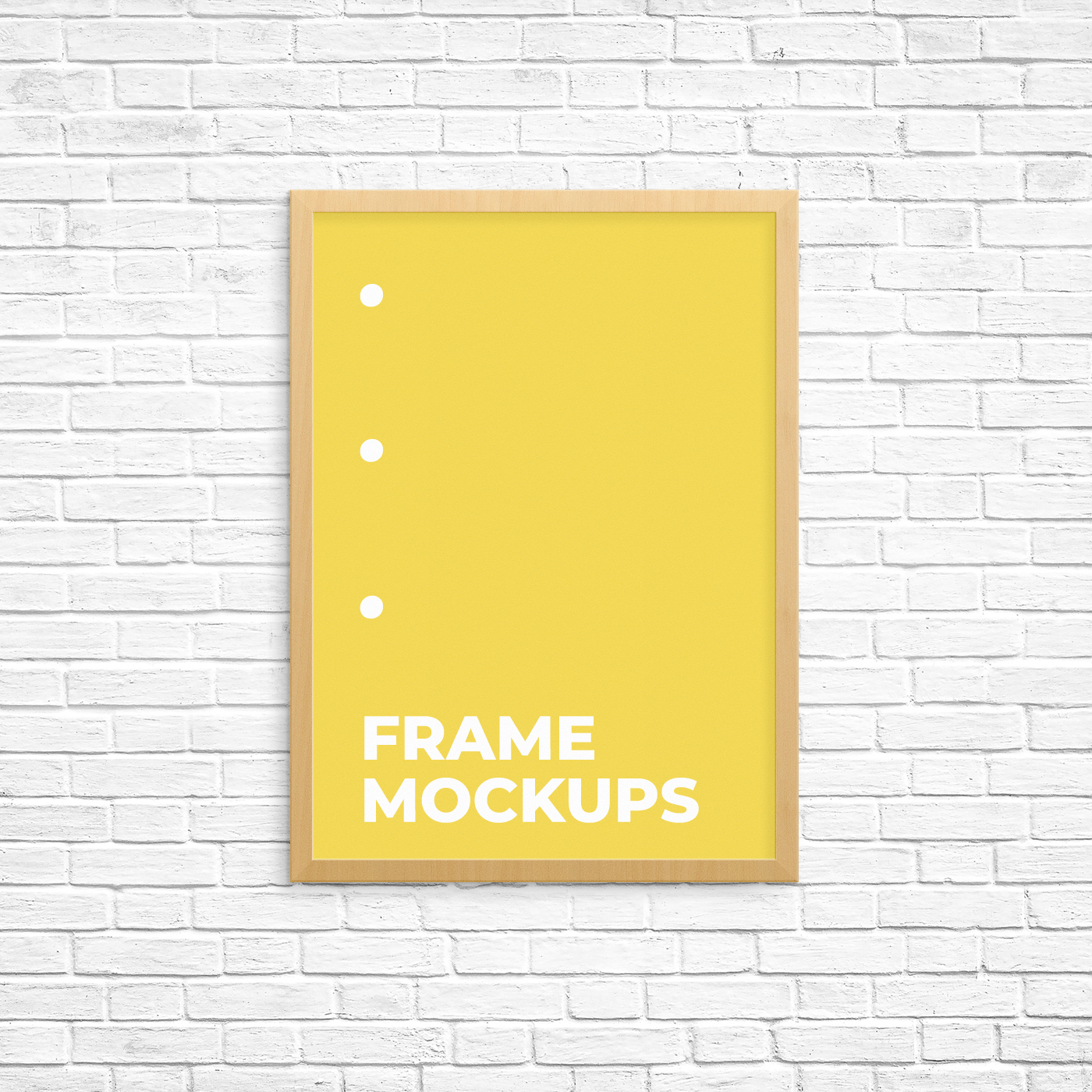 Poster Frame Mockup on a Brick Wall