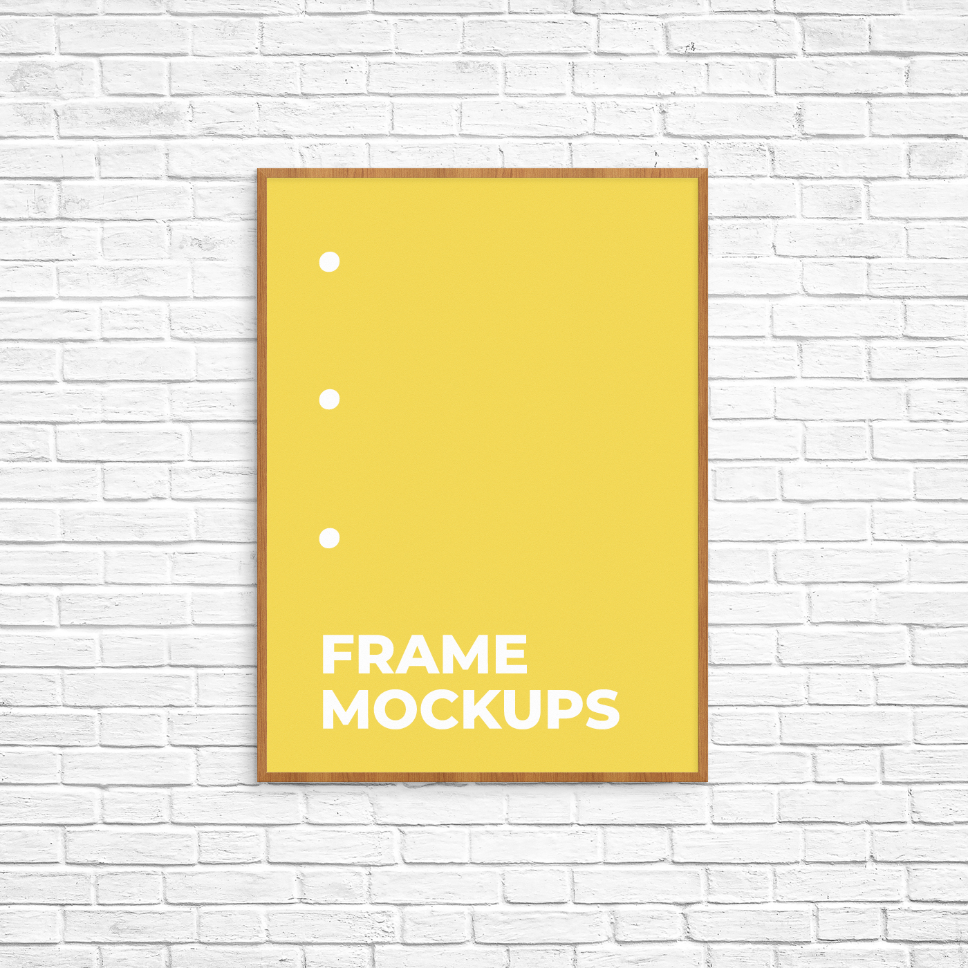Poster Frame Mockup on a Brick Wall