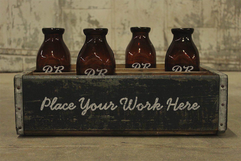 Vintage Wood Boxes Packaging Mockup Free