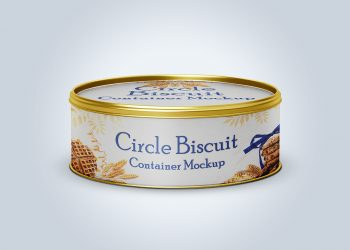 Circle Biscuit and Cookies Tin Container Mockup