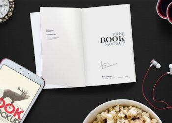 Free Open Book Mockup Scene