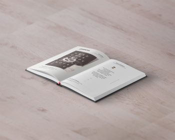 Free Open Hardcover Book PSD Mockup