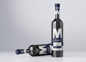 Free Wine Bottle Mockup PSD