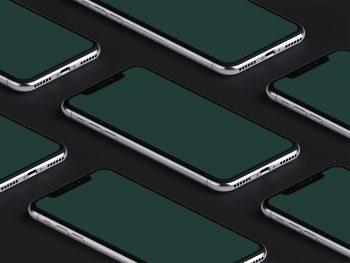 Isometric iPhone X PSD Mockup