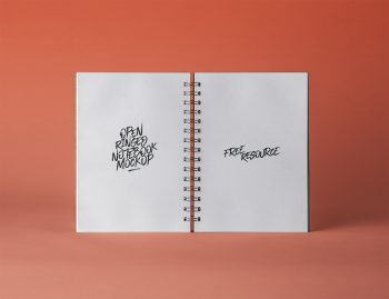 Open PSD Ringed Sketchbook Mockup