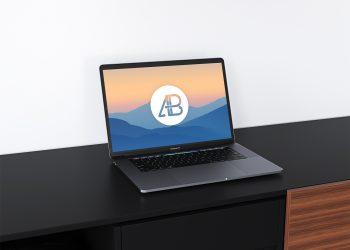Realistic Space Grey MacBook Pro Mockup