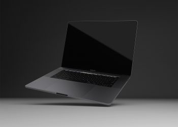 Realistic MacBook Pro Space Gray Mockup
