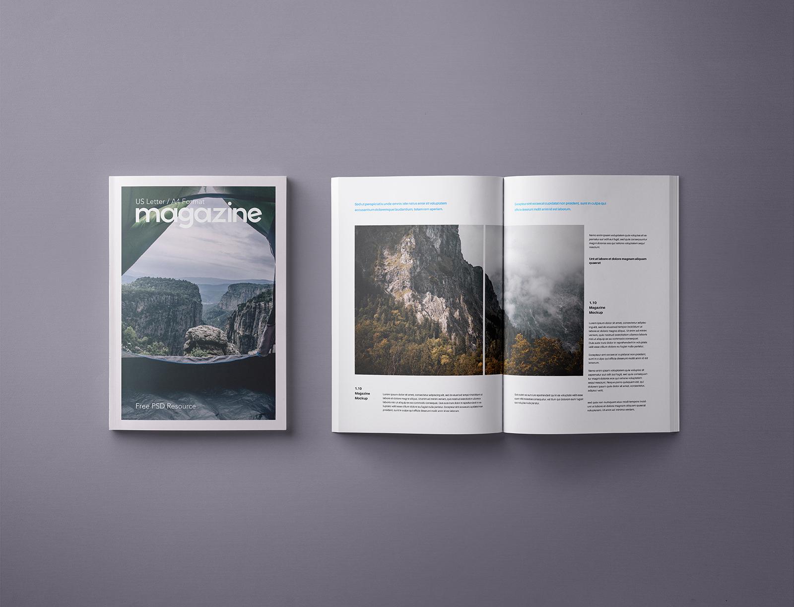 PSD Magazine Mockup Template US A4