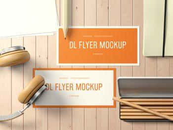 DL Landscape Flyer Mockup on a Desk Free PSD