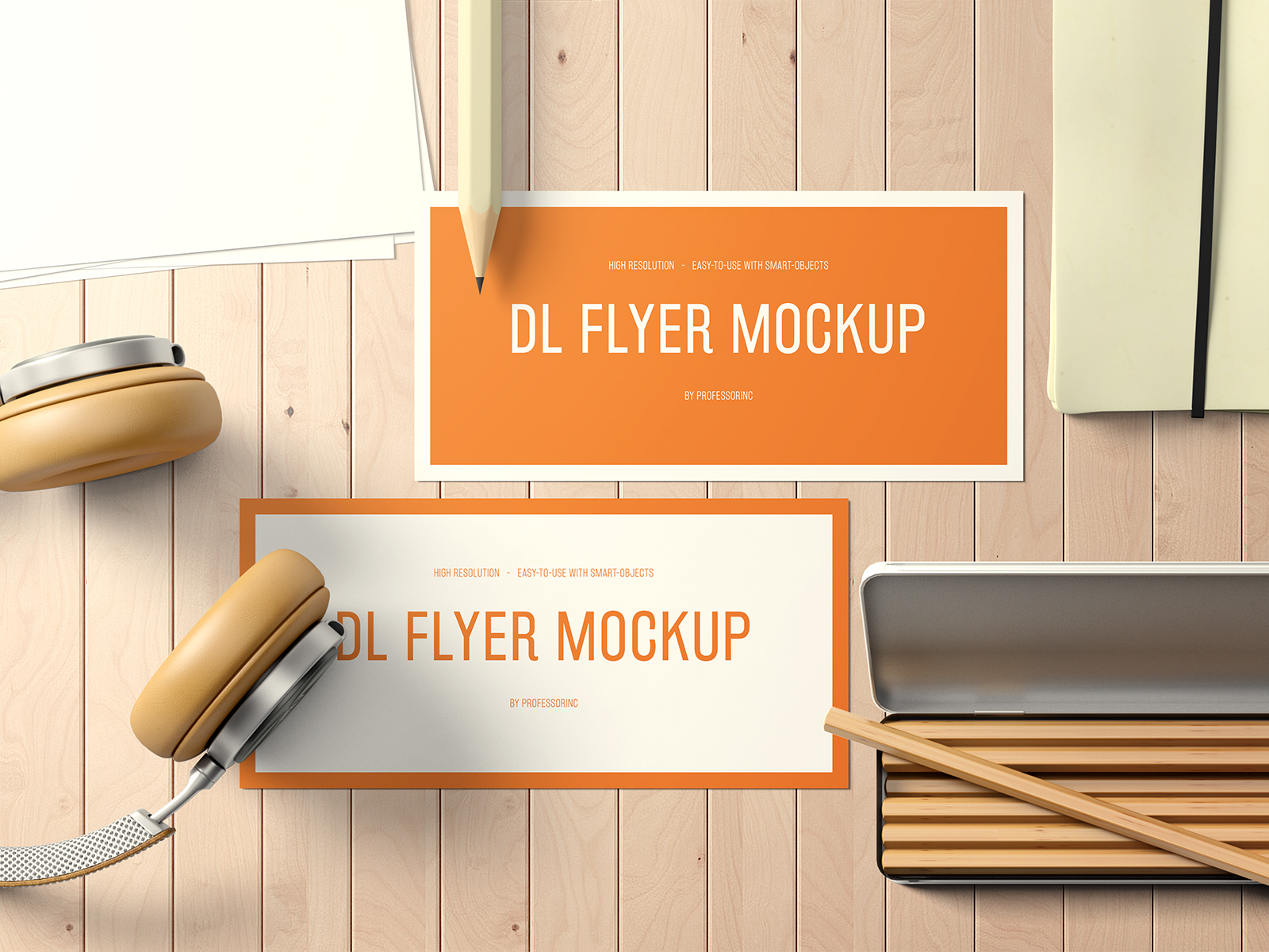 DL Landscape Flyer Mockup on a Desk Free PSD