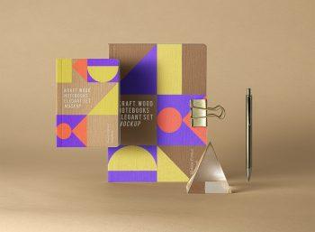 Kraft Notebook Set Mockup