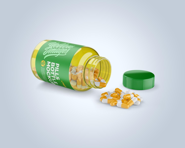Transparent Bottle with Pills Mockup