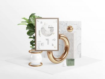 Frame in a Surreal World Mockup PSD