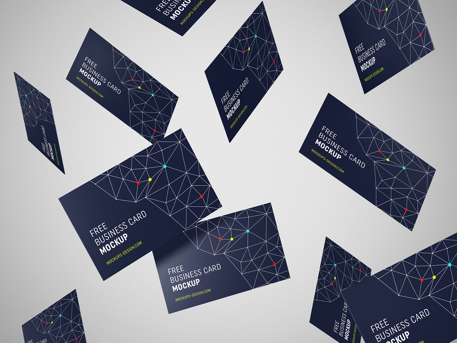 Free Flying Business Cards Mockup