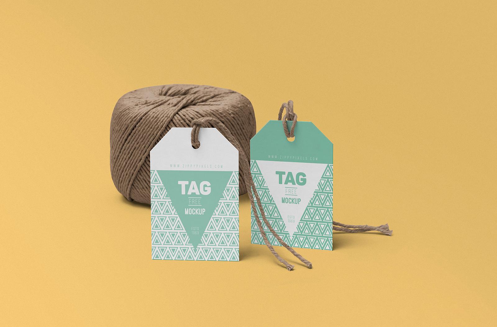 Free String Tag Mockup PSD