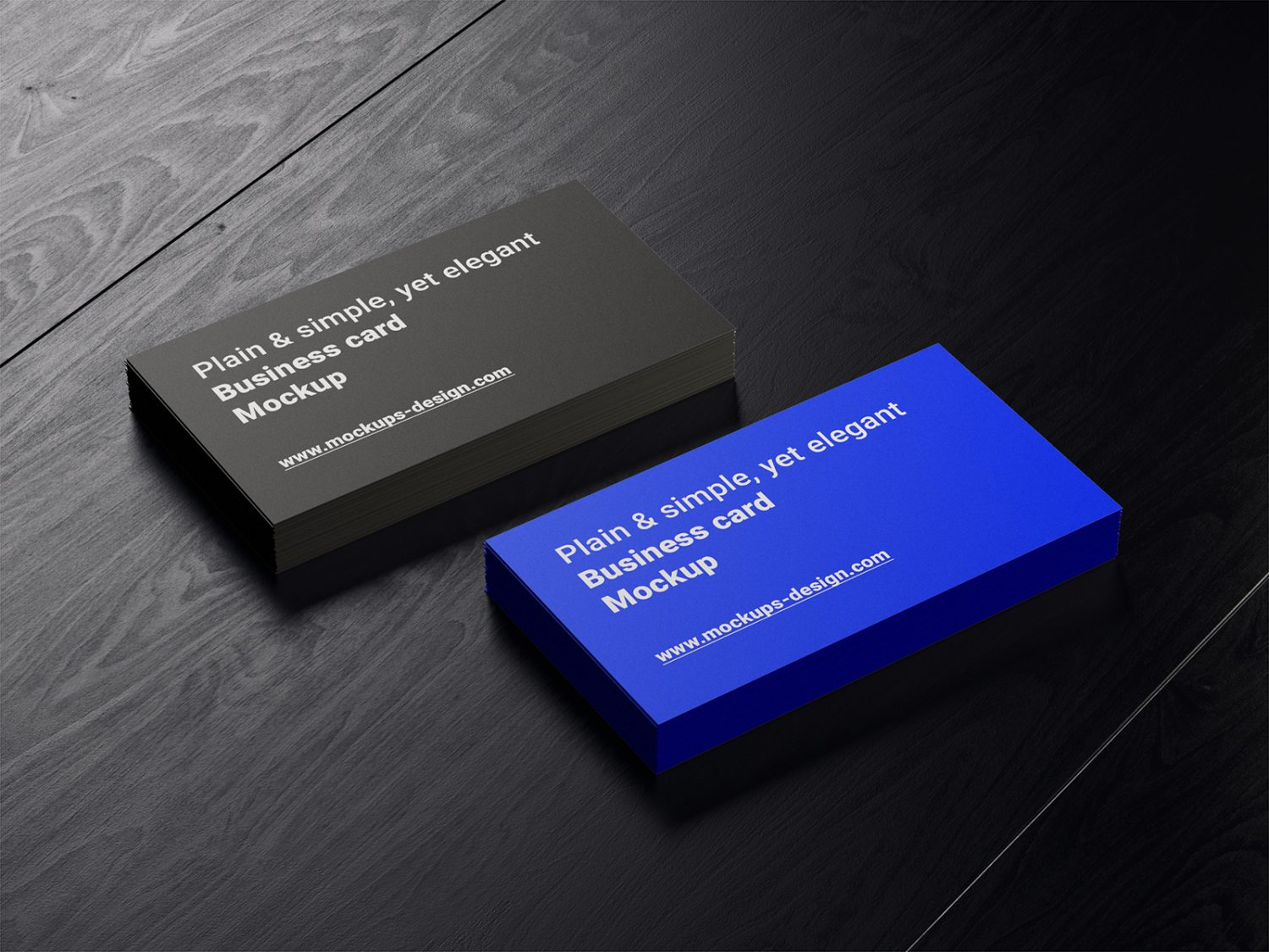 Business Cards Mockup on a Dark Wood