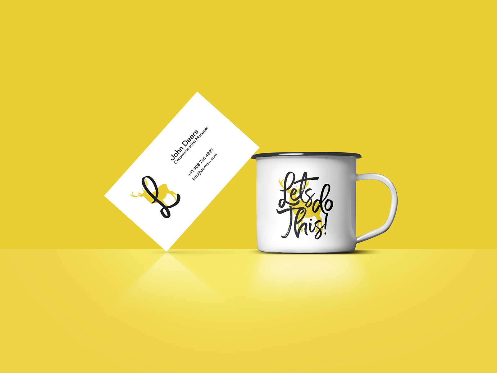 Free Business Card and Enamel Mug Mockup