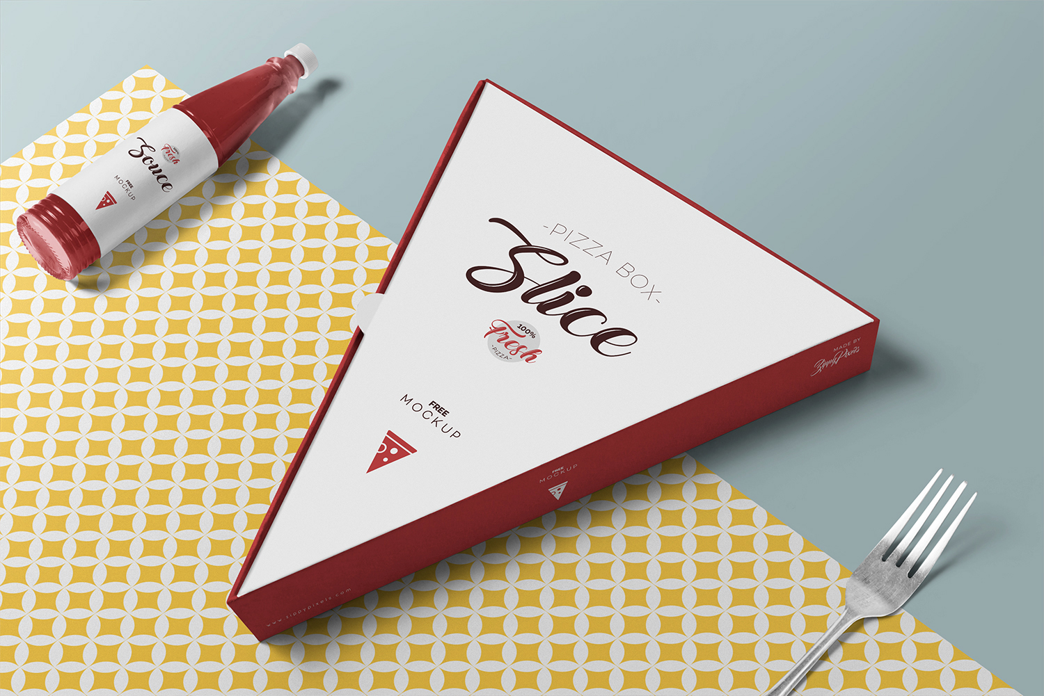 Free Pizza Slice Box Mockup