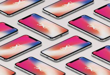 Isometric iPhone X/11 Pro PSD mockup