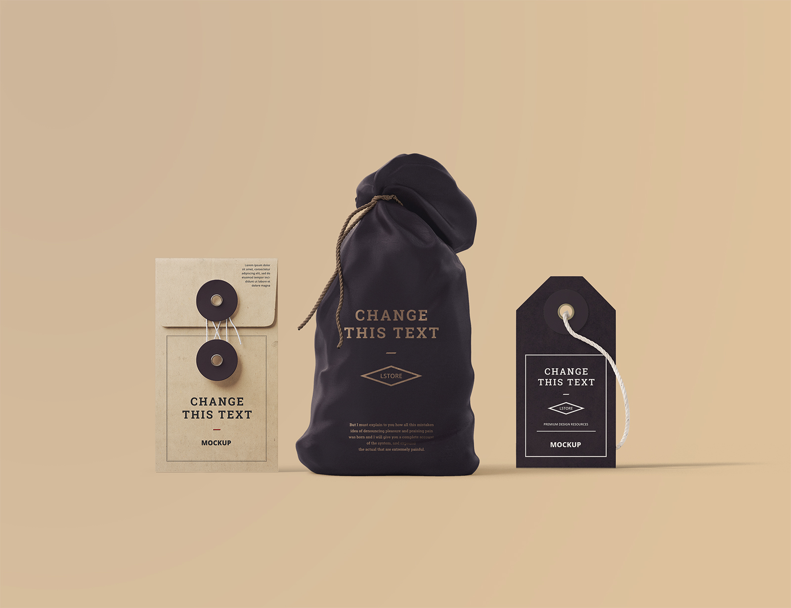 Bag, Box, Tag Mockups in Front View