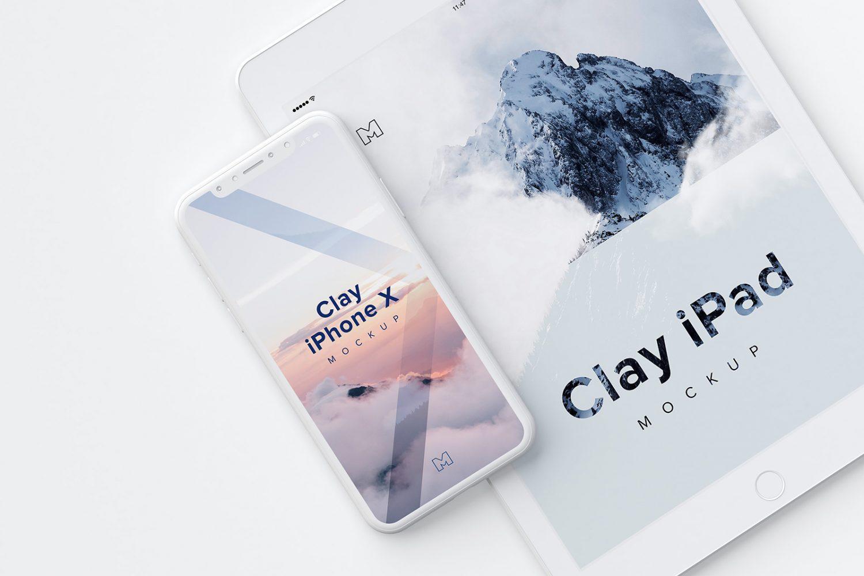 Clay iPhone X and iPad Mockup