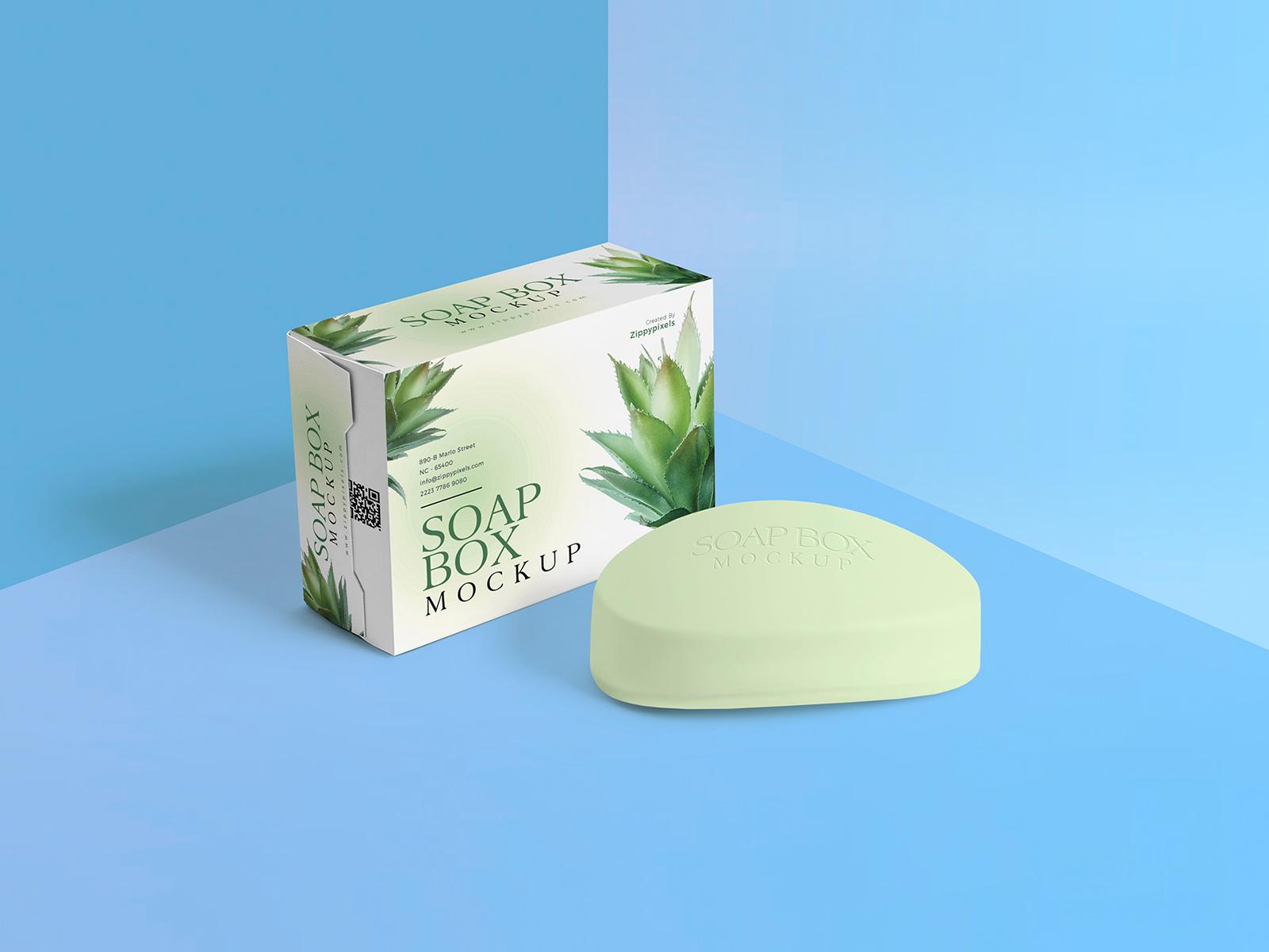 Packaging Box & Soap Free Mockup