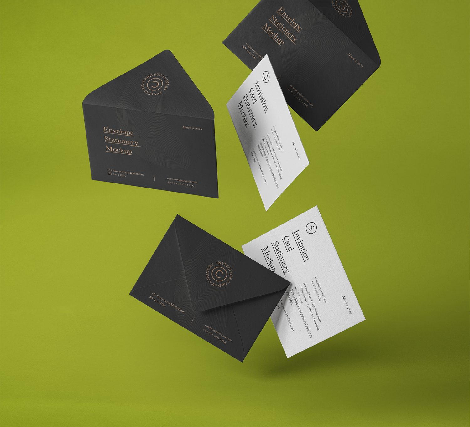 Gravity Envelope and Invitation Mockups