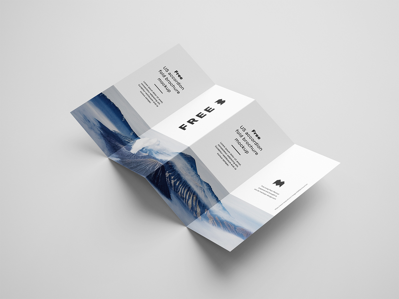Free 4 Fold Accordion Brochure Mockup