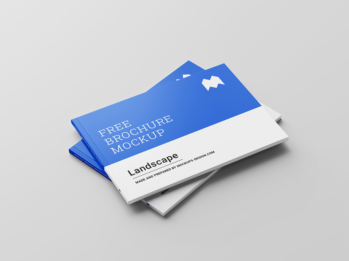 Binding Landscape Brochure Free Mockup