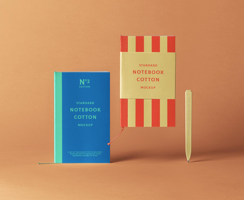 Cotton PSD Notebook Free Mockup