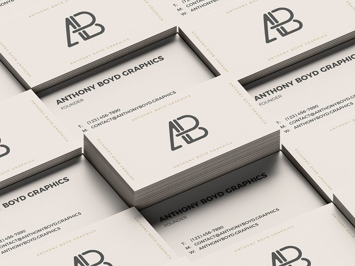 Free Stacked Business Cards PSD Mockup