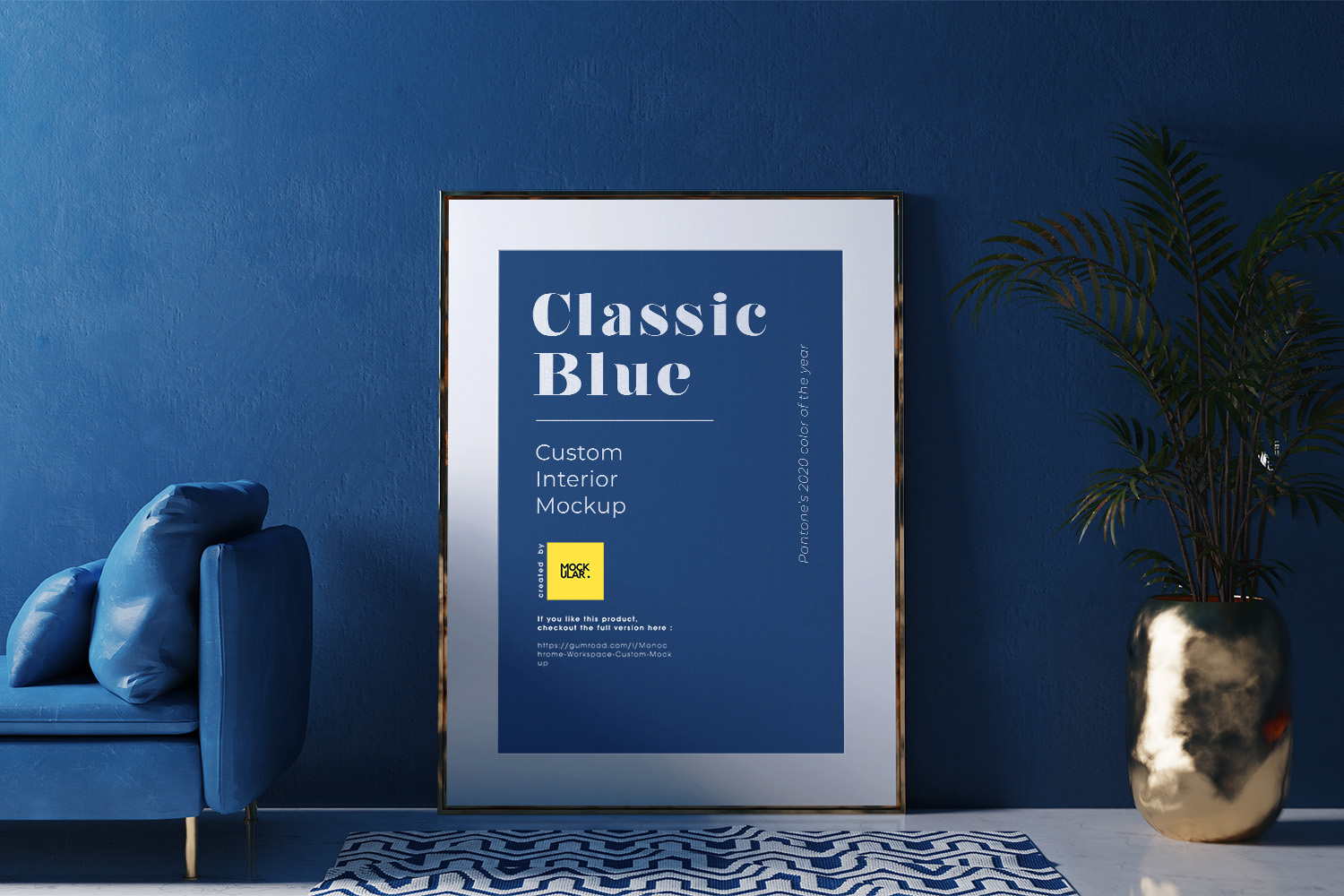Poster Frame Free Mockup in the Classic Blue Interior