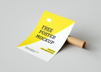 Poster Free Mockup with a Paper Tube