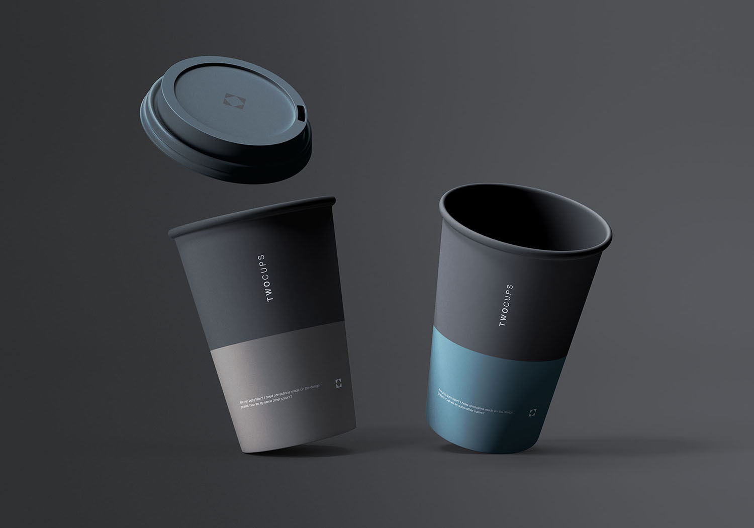 Two Disposable Coffee Cups Free Mockup