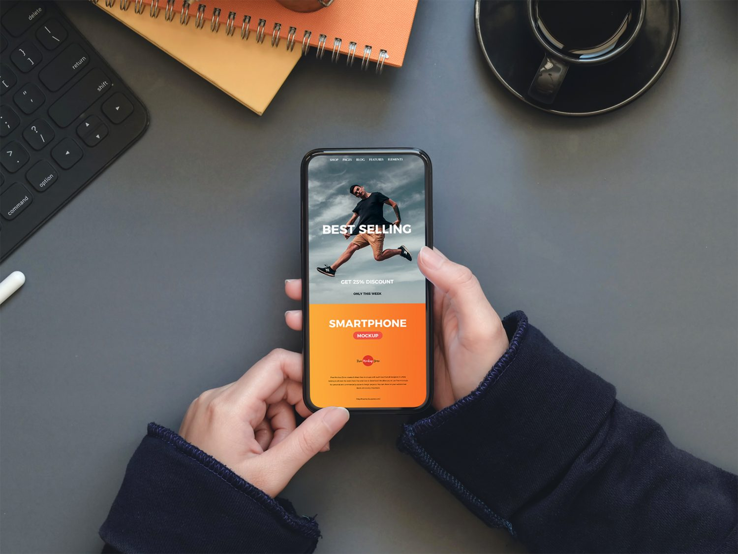 A Person Holding a Smartphone Free Mockup