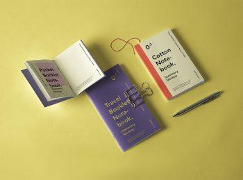 Booklet Notebook PSD Free Mockup Set