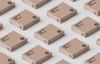 Box Grid PSD Packaging Free Mockup