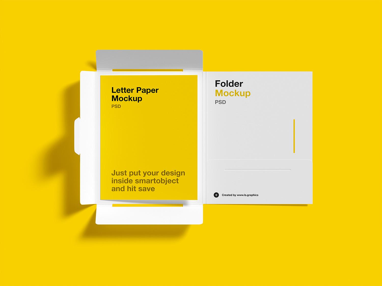 Brochure Folder with Letterhead Free Mockups